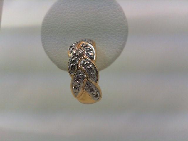 Silver-Diamond Earrings 2 Diamonds .02 Carat T.W. 925 Silver 2.7g