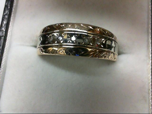 Lady's Diamond Wedding Band 5 Diamonds 0.05 Carat T.W. 14K 2 Tone Gold 5.8g