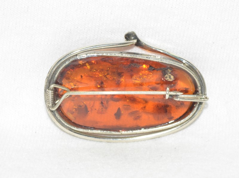Amber Oval Stone Brooch 925 Silver 8g