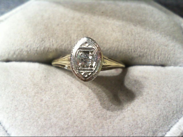 Lady's Diamond Engagement Ring .10 CT. 14K 2 Tone Gold 2.3g