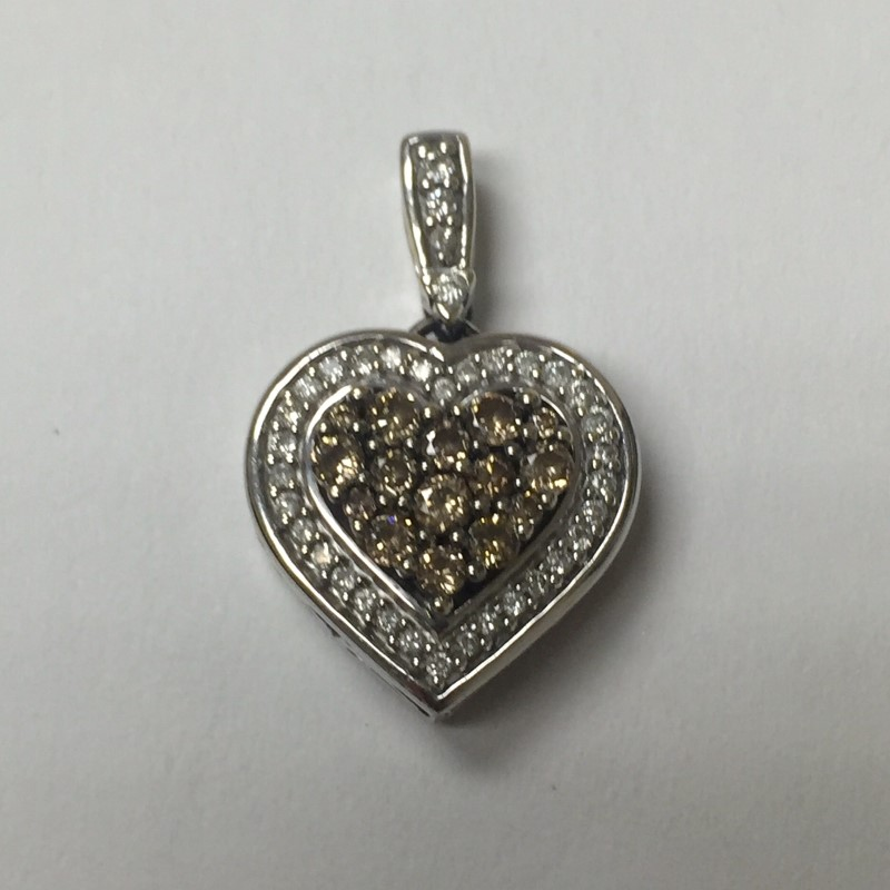 Gold-Multi-Diamond Pendant 48 Diamonds .93 Carat T.W. 14K White Gold 2.1dwt