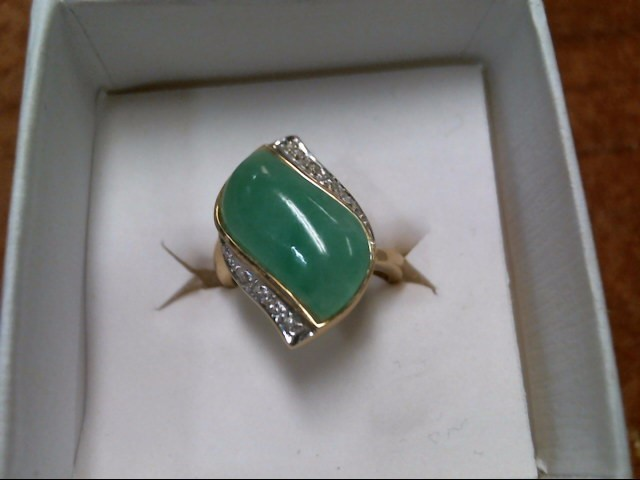 5G 14K YELLOW GOLD JADE RING