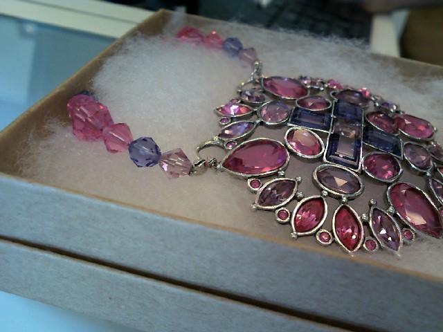 Unique Vintage Swarovski Pink and Purple Pendant Beaded Necklace