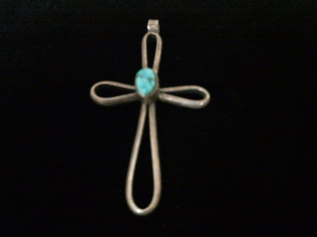 Silver Turquoise Cross