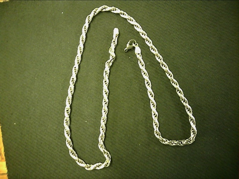 "22"" 5MM STERLING ROPE CHAIN WITH PLATED CLASP, 925 Silver 20.57dwt"