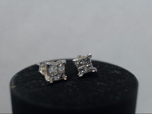 Gold-Diamond Earrings 8 Diamonds .40 Carat T.W. 14K White Gold 0.73g