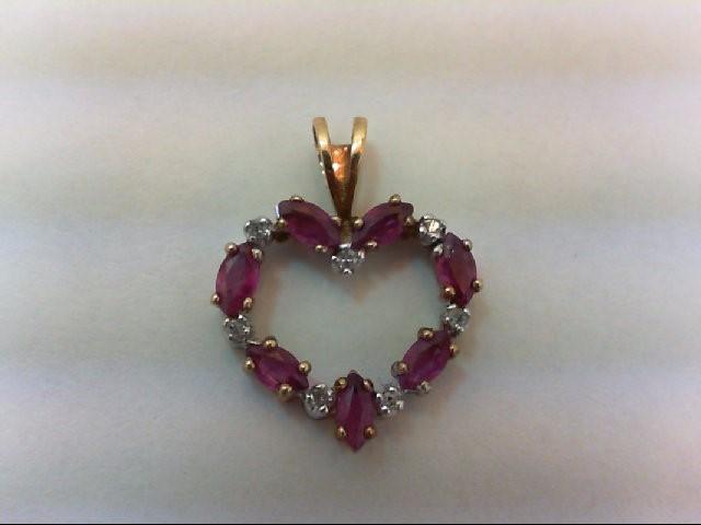 Ruby Gold-Diamond & Stone Pendant 7 Diamonds .07 Carat T.W. 14K Yellow Gold