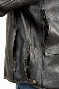 DEALER LEATHER MJ815-11-A 46; LEATHER BIKER STYLE JACKET WITH SKULL, ARMORED, WI