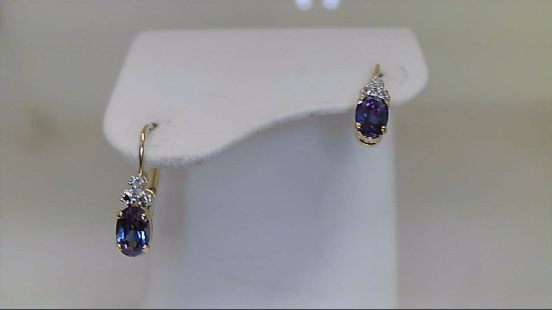 Synthetic Blue Topaz Gold-Diamond & Stone Earrings 2 Diamonds .02 Carat T.W.