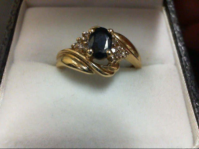 Sapphire Lady's Stone & Diamond Ring 12 Diamonds 0.12 Carat T.W. 14K Yellow Gold