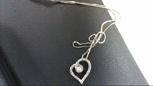 Silver-Diamond Pendant 40 Diamonds .45 Carat T.W. 925 Silver 1.3g
