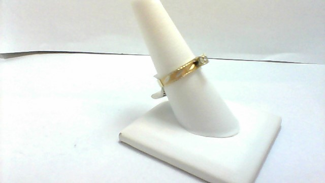 White Stone Lady's Stone Ring 14K Yellow Gold 2.6g