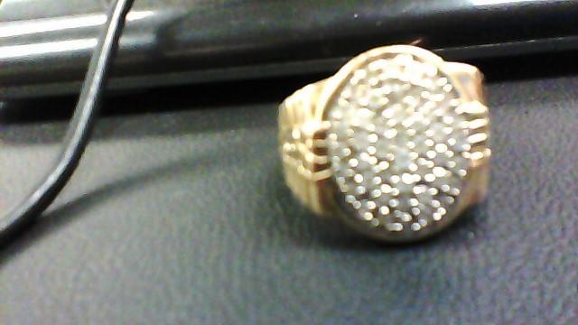 Gent's Diamond Cluster Ring 50 Diamonds 1.50 Carat T.W. 10K Yellow Gold 6.6g