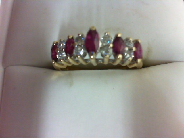 Ruby Lady's Stone & Diamond Ring 8 Diamonds 0.24 Carat T.W. 14K Yellow Gold 3.3g