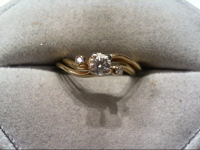 Lady's Diamond Wedding Set 3 Diamonds .22 Carat T.W. 14K Yellow Gold 2.8g