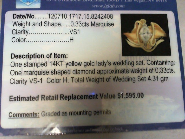 Lady's Diamond Wedding Set .33 CT. 14K Yellow Gold 4.31g