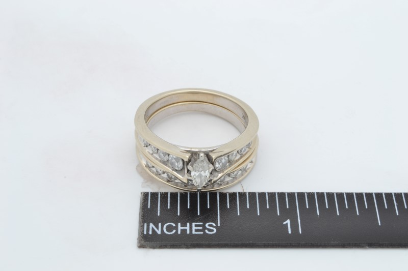 ESTATE DIAMOND WEDDING SET RING BAND SOLID 14K WHITE GOLD SIZE 6.75