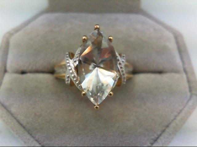 Aquamarine Lady's Stone & Diamond Ring 4 Diamonds 0.04 Carat T.W. 10K Yellow Gol