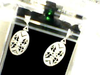 Gold-Diamond Earrings 22 Diamonds .22 Carat T.W. 14K White Gold 3.1dwt