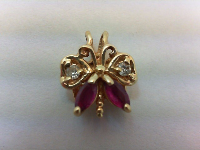 Ruby Gold-Diamond & Stone Pendant 2 Diamonds .08 Carat T.W. 14K Yellow Gold