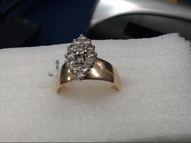 Lady's Diamond Cluster Ring 14 Diamonds .14 Carat T.W. 14K Yellow Gold 4.66dwt