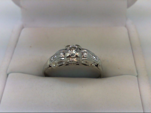 Lady's Diamond Engagement Ring 7 Diamonds .32 Carat T.W. 14K White Gold 2.4g