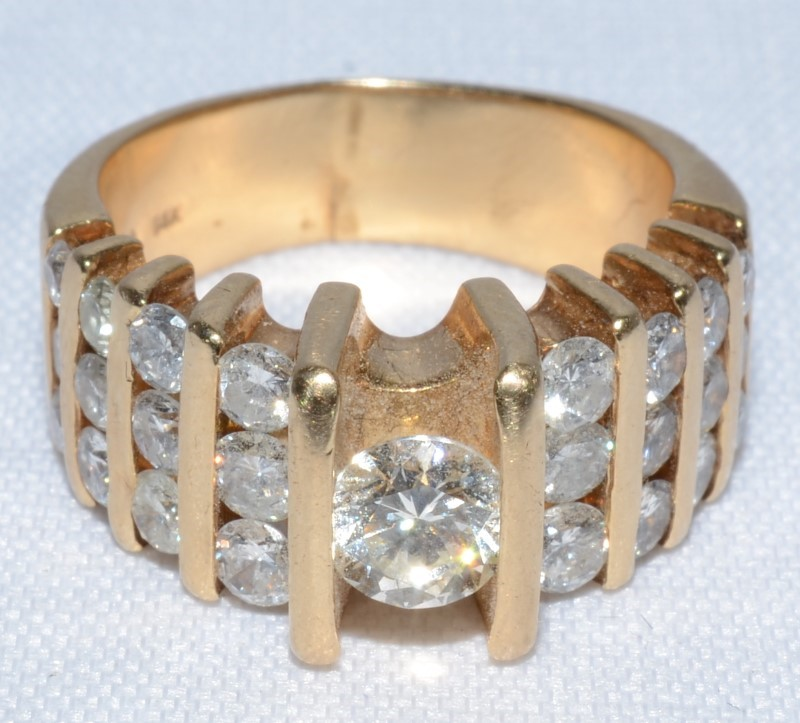 14K Yellow Gold Vintage Inspired Bar Set Chunky Diamond Statement Ring Size 6.5