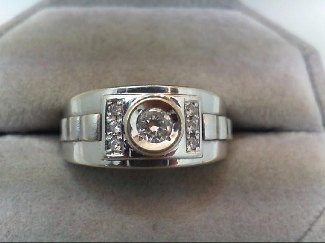 Cubic Zirconia Gent's Stone Ring 14K White Gold 5.84g