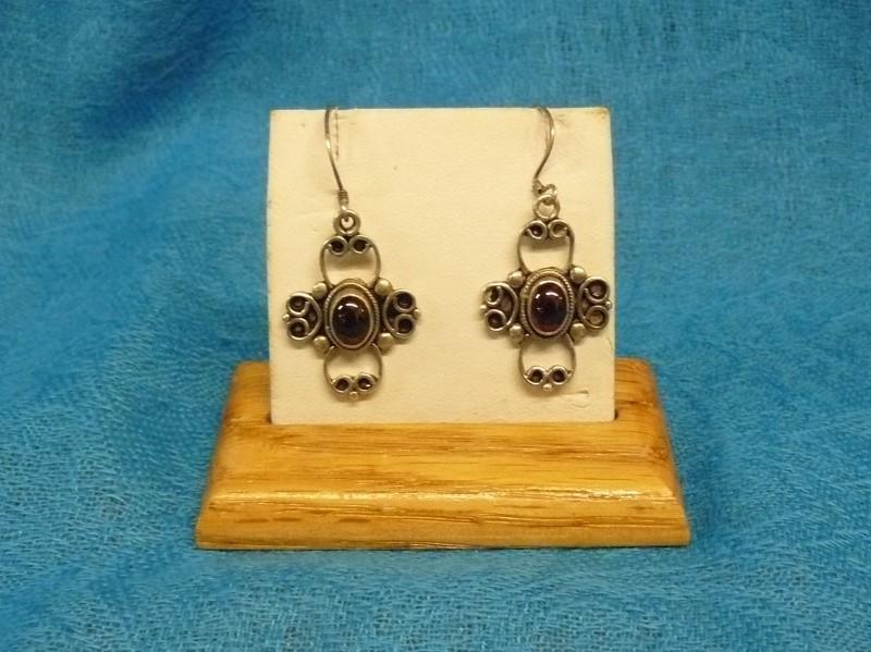 Almandite Garnet Silver-Stone Earrings 925 Silver 3.6dwt