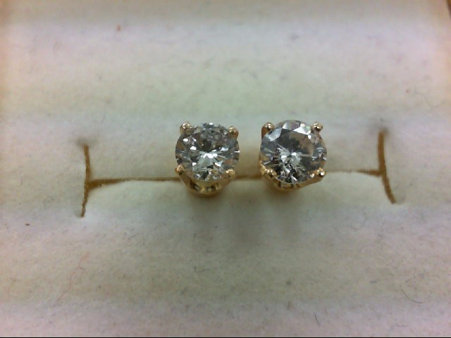 Gold-Diamond Earrings 2 Diamonds .63 Carat T.W. 14K Yellow Gold 1g