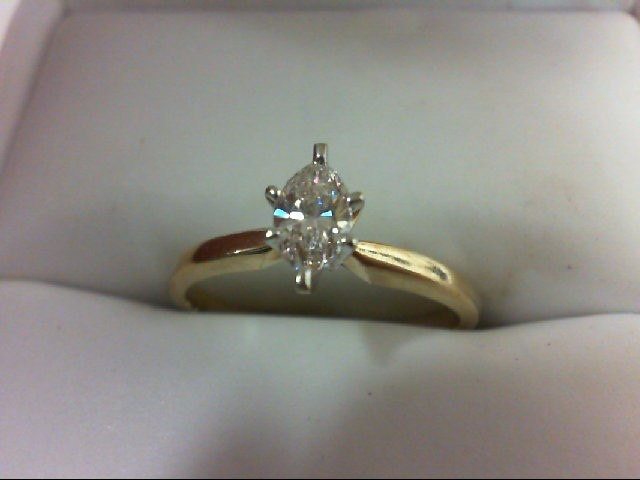 Lady's Diamond Solitaire Ring 0.35 CT. 14K Yellow Gold 2.1g Size:7