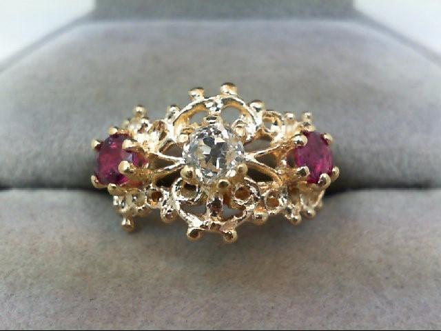 Ruby Lady's Stone & Diamond Ring .33 CT. 14K Yellow Gold 4g