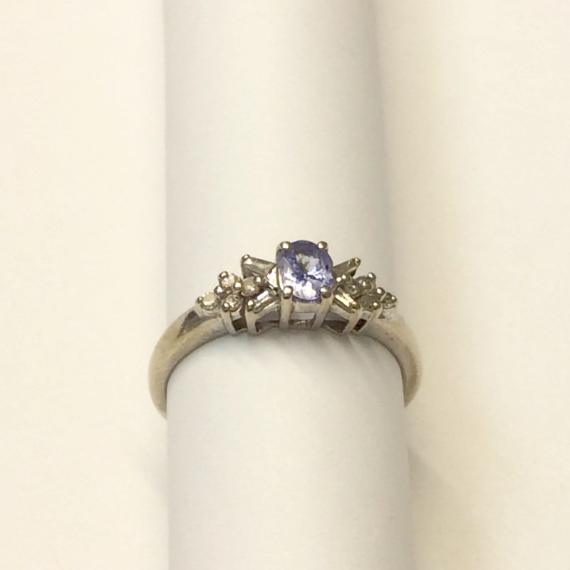 Tanzanite Lady's Stone & Diamond Ring 12 Diamonds .12 Carat T.W. 10K White Gold