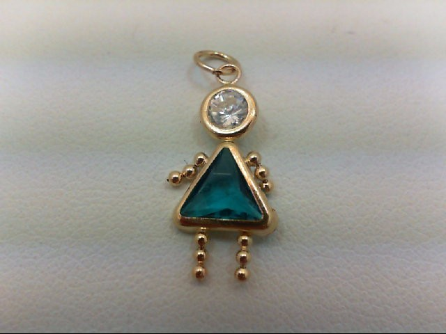 Teal Stone Gold-Stone Pendant 14K Yellow Gold 0.5g