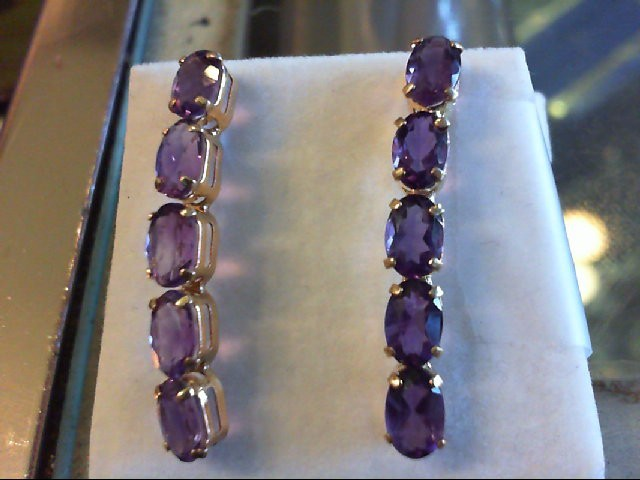 Amethyst Gold-Stone Earrings 14K Yellow Gold 2.2g