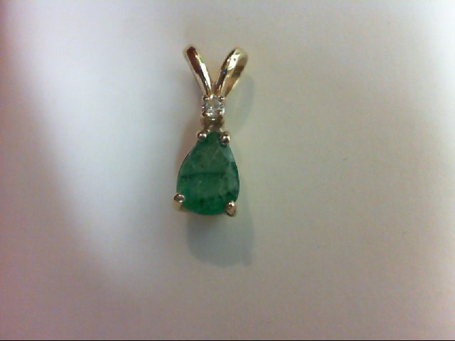 Emerald Gold-Diamond & Stone Pendant 0.02 CT. 10K Yellow Gold 0.6g