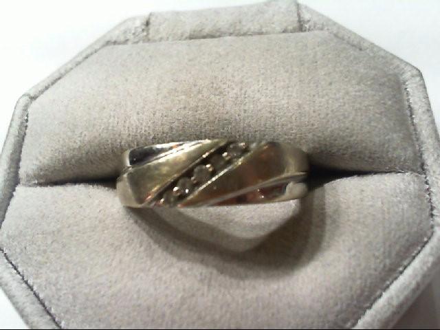 Gent's Gold-Diamond Wedding Band 5 Diamonds .10 Carat T.W. 10K White Gold 4.8g
