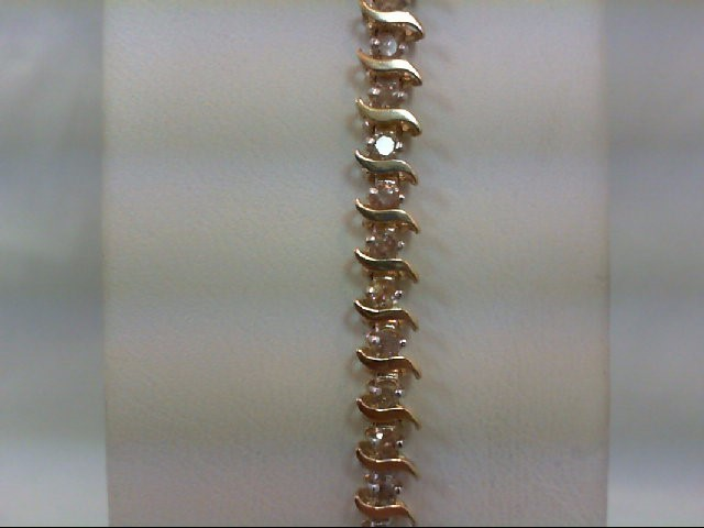 Gold-Diamond Bracelet 49 Diamonds 2.45 Carat T.W. 10K Yellow Gold 6.5g