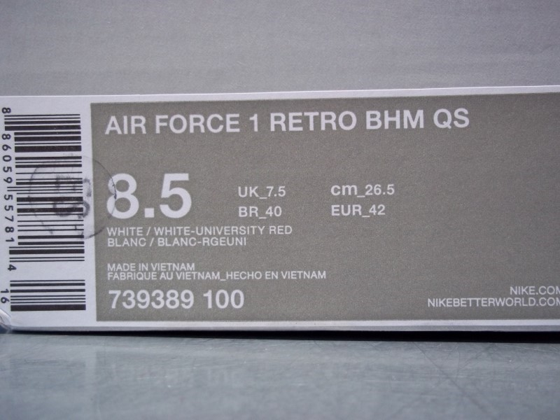 NIKE AIR FORCE 1 RETRO BHM QS SIZE 8.5 MENS SHOE