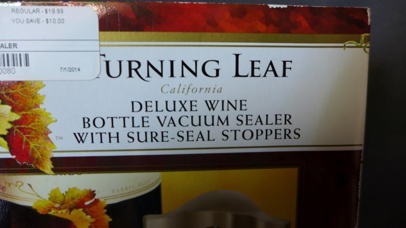 TURNING LEAF WINE VACUUM SEALER