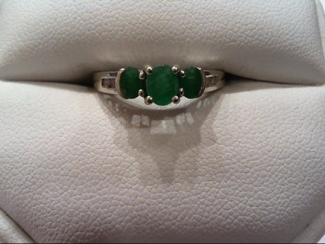 Emerald Lady's Stone & Diamond Ring 4 Diamonds .04 Carat T.W. 10K White Gold