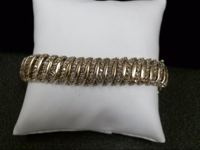 Gold-Diamond Bracelet 387 Diamonds 3.87 Carat T.W. 10K Yellow Gold 30.8g