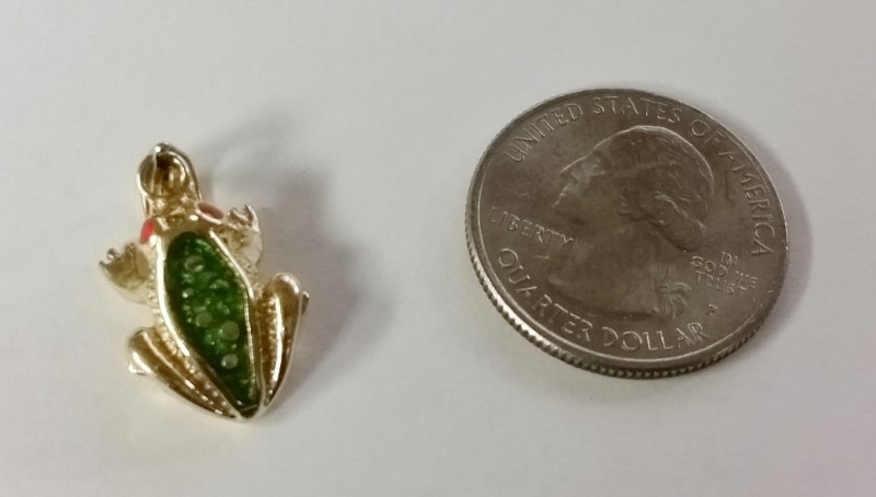 14K Yellow Gold Textured Orange Red & Green Enamel Spotted Frog Toad Pendant