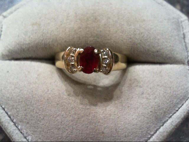 Ruby Lady's Stone & Diamond Ring 6 Diamonds .12 Carat T.W. 14K Yellow Gold 3.2g