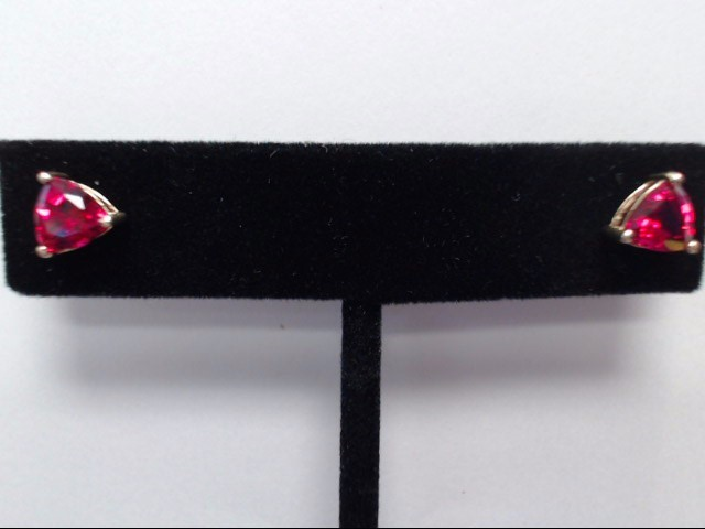 Synthetic Ruby Gold-Stone Earrings 14K Yellow Gold 1.2g