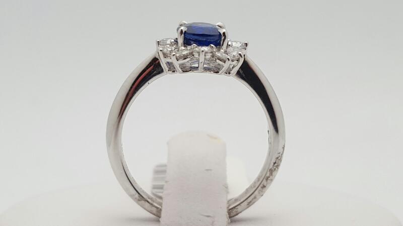 Lady's Sapphire & Diamond Ring 12 Diamonds .49 Carat T.W. 18K White Gold 4