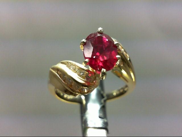 Ruby Lady's Stone & Diamond Ring 18 Diamonds .36 Carat T.W. 14K Yellow Gold