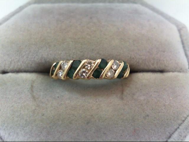 Emerald Lady's Stone & Diamond Ring 6 Diamonds .36 Carat T.W. 14K Yellow Gold