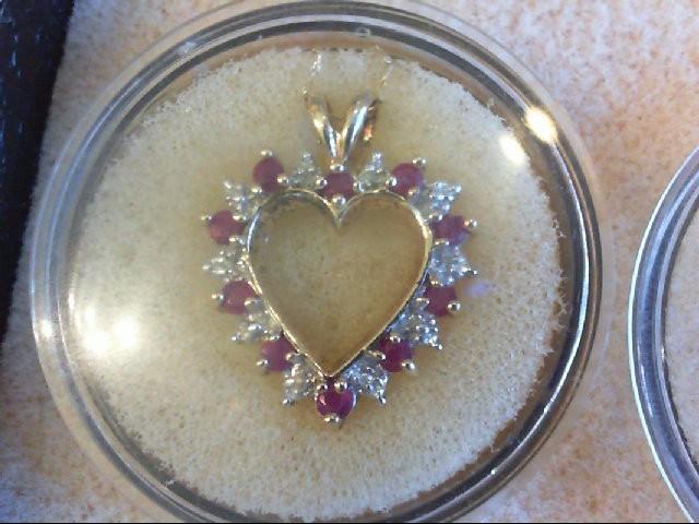"21"" Ruby Diamond & Stone Necklace 6 Diamonds .06 Carat T.W. 10K Yellow Gold"