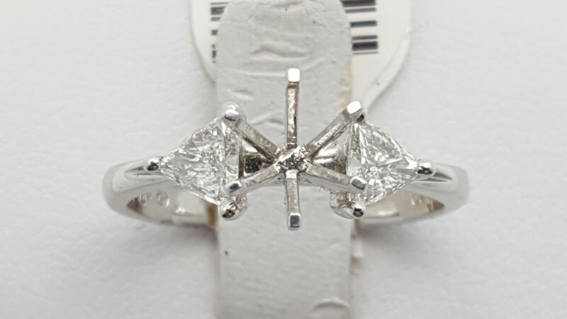 Lady's Diamond Engagement Ring 2 Diamonds .42 Carat T.W. 18K White Gold 3.5g